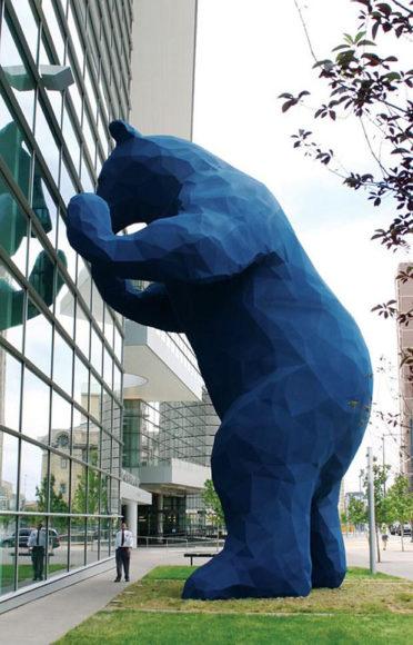 Denver's Big Blue Bear sculpture by Lawrence Argent.