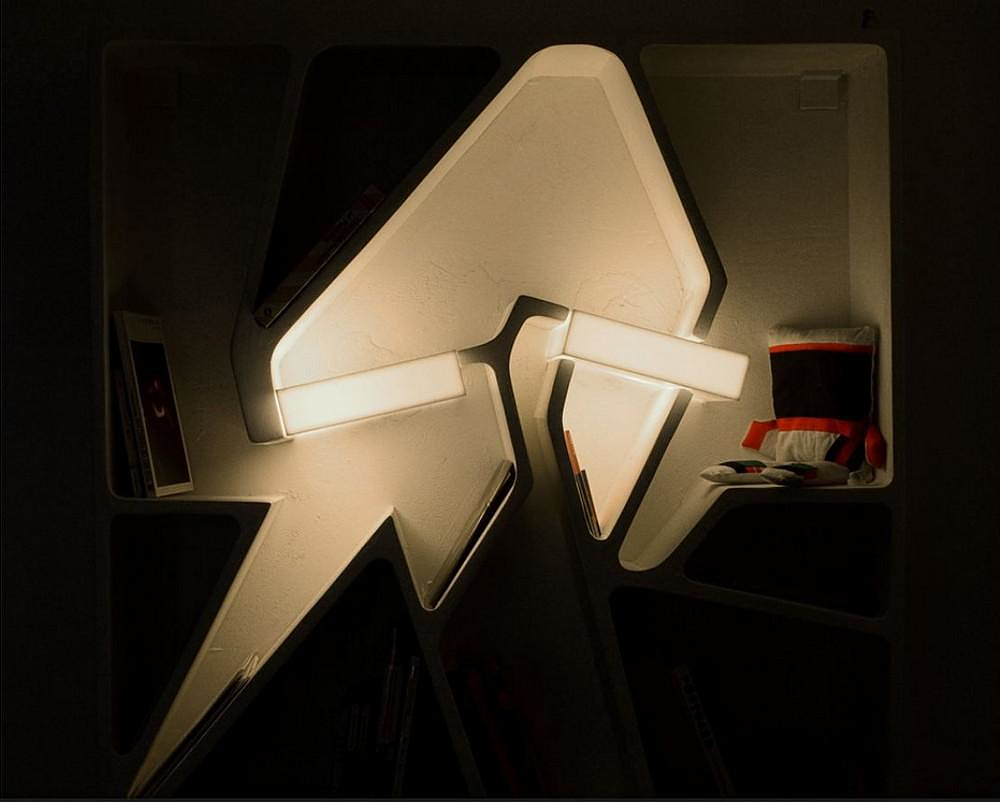 Graffititek Bookshelf with Incorporated lighting.