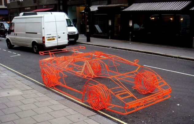 Lamborghini Countach wireframe by Benedict Radcliffe