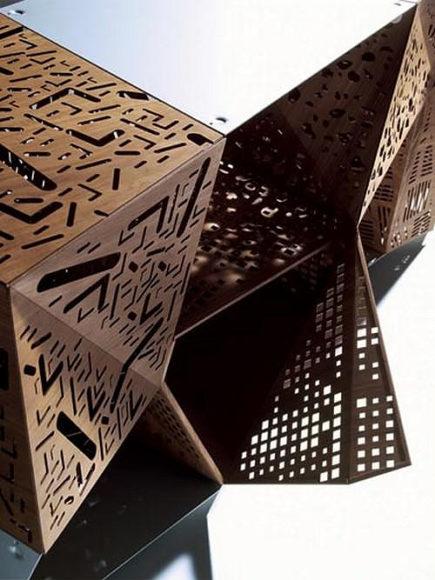 Riddled Cabinet: Wood Laser Sculpting by Steven Holl for Horm.