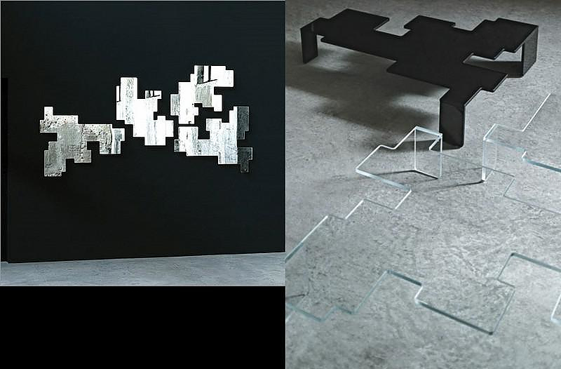 Καθρέφτης και Τραπεζάκι Καφέ Space Invaders του Piero Lissoni για την Glas Italia.