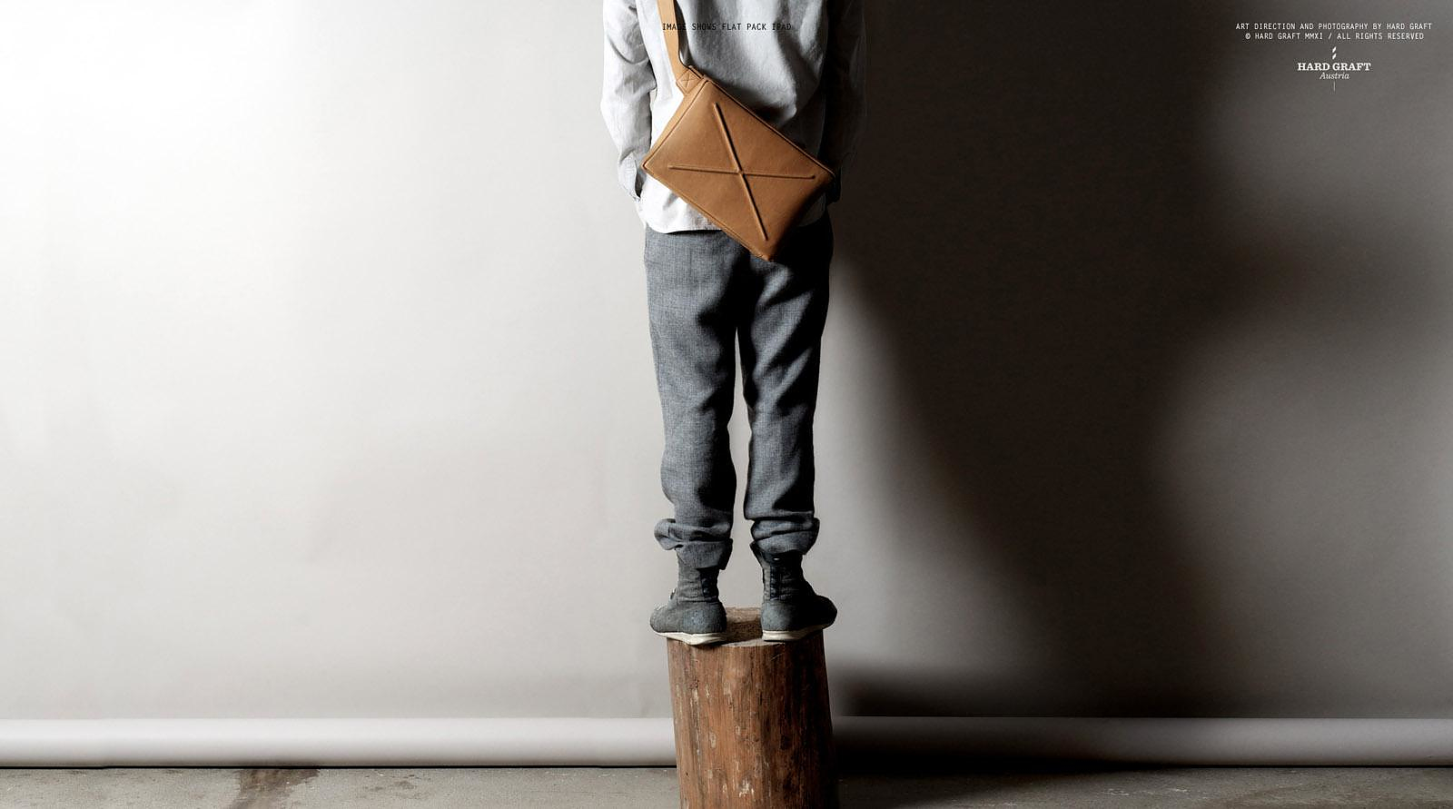 Flat Pack Leather Laptop Bag by Hard Graft.