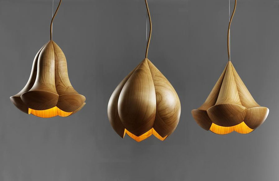 Wooden Flower Lamps by Laszlo Tompa.