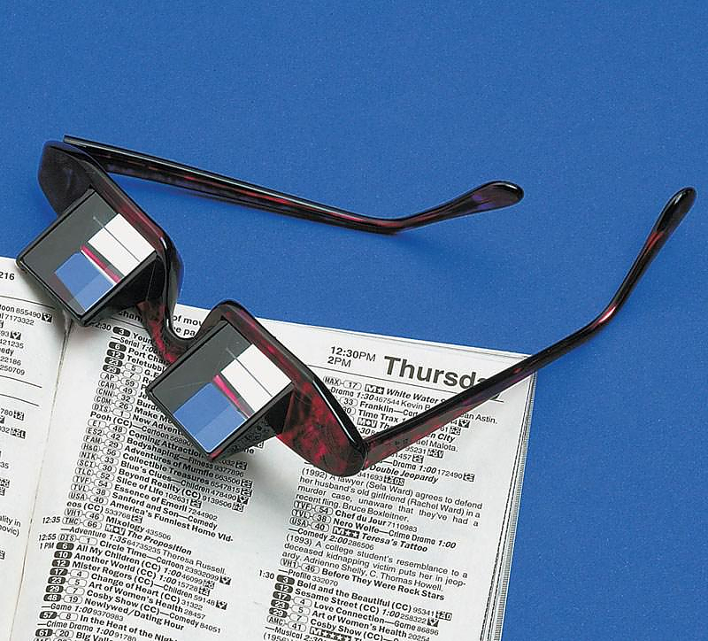 Prism bed glasses for layback reading.