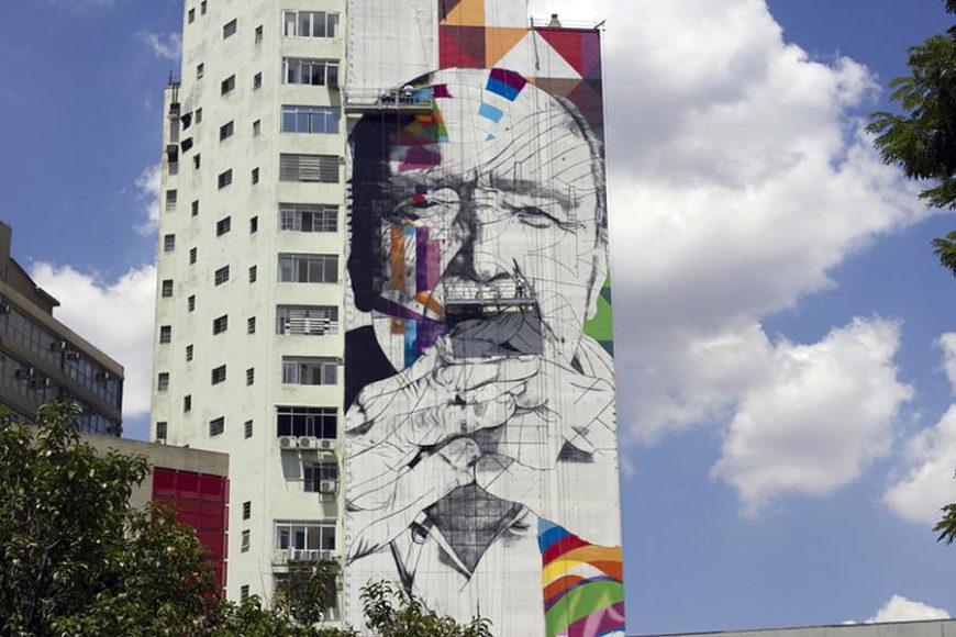 Mural tribute to Oscar Niemeyer by Eduardo Kobra.