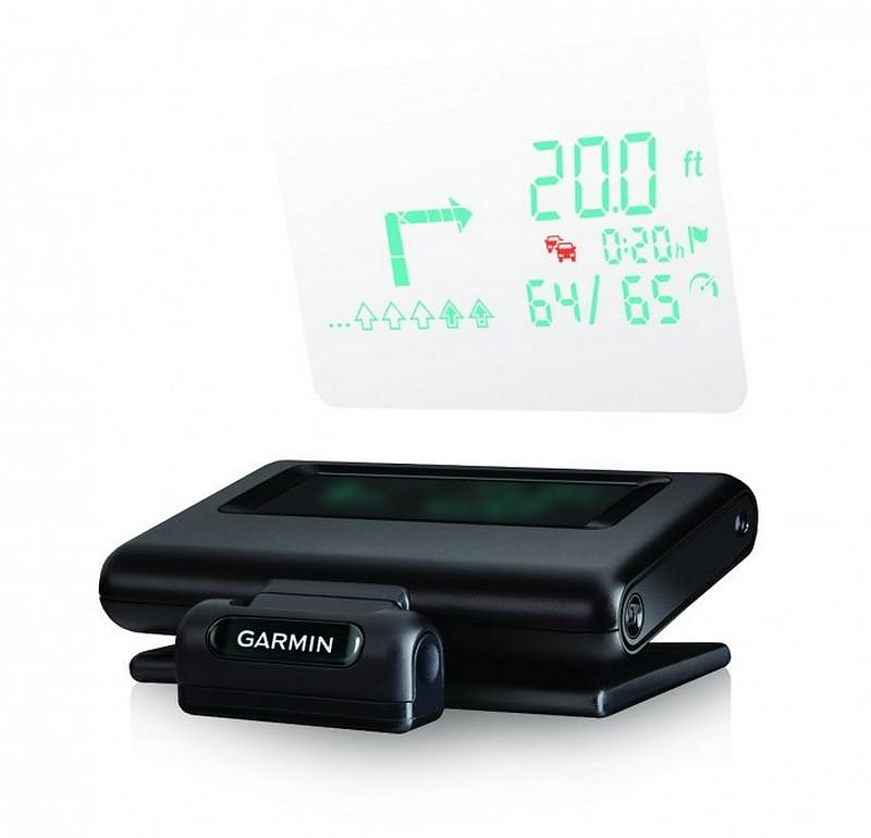 The futuristic looking Garmin HUD displays GPS driving directions onto your car's windshield.