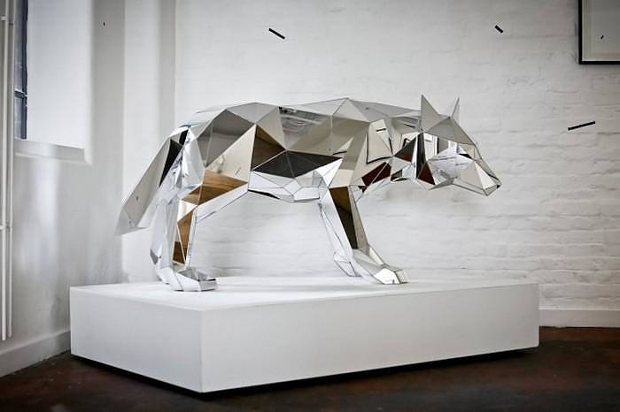 Mirrored Animal Sculptures by Arran Gregory.