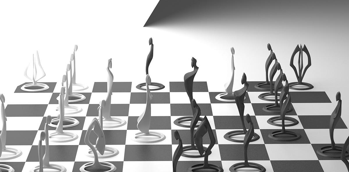 Pandov Chess Set, a Sculptural Work of Art by Lucian Popescu.