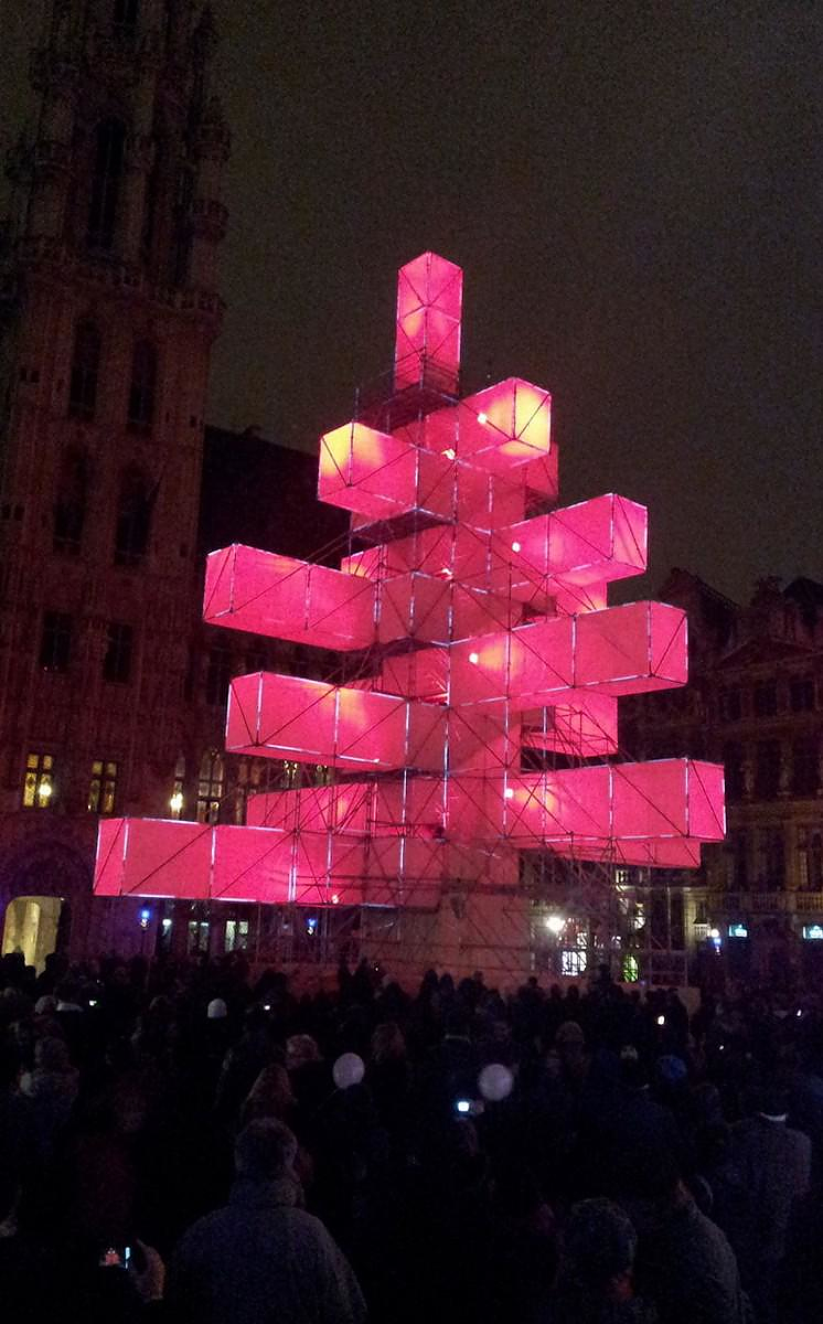 Christmas Tree Light installation in Brussels.