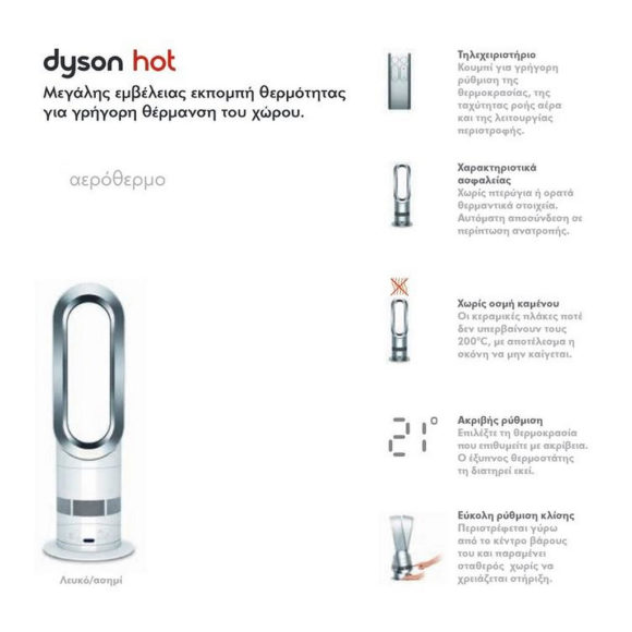 Ανεμιστήρας αερόθερμο AM05 Hot + Cool από τη Dyson.
