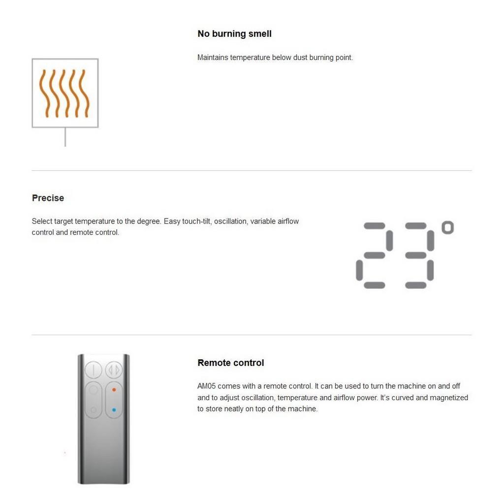 AM05 Hot + Cool Fan Heater by Dyson.