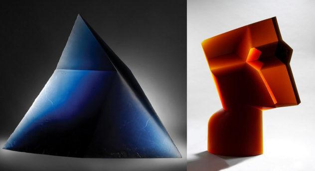 Geometric Glass Sculptures by Stanislav Libensky