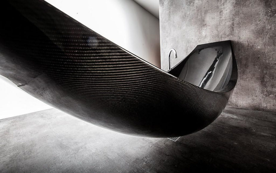 Vessel Hammock Shaped Carbon Fiber Bathtub by Splinter Works.