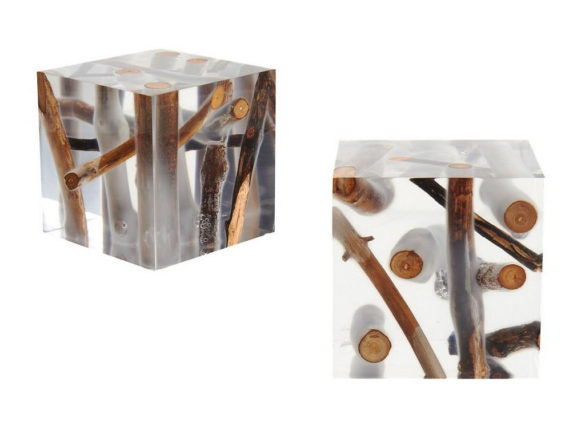 Kisimi Cubic Stool Acrylic and Driftwood