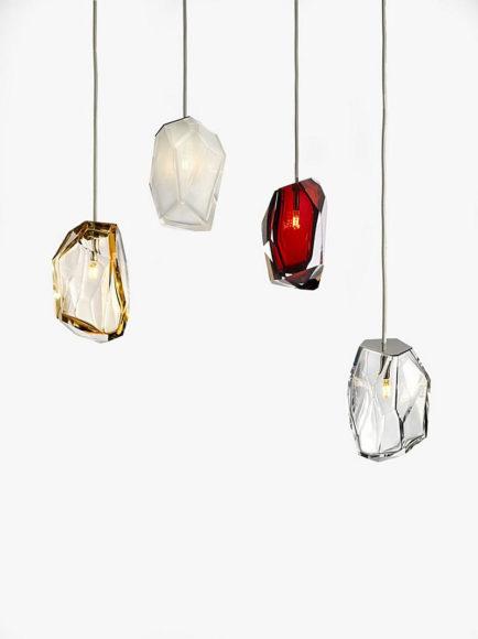 Γυάλινα φωτιστικά Crystal Rocks του Arik Levy για την Lasvit.