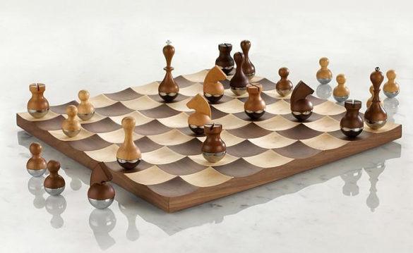 Wobble chess set by Adin Mumma for Umbra