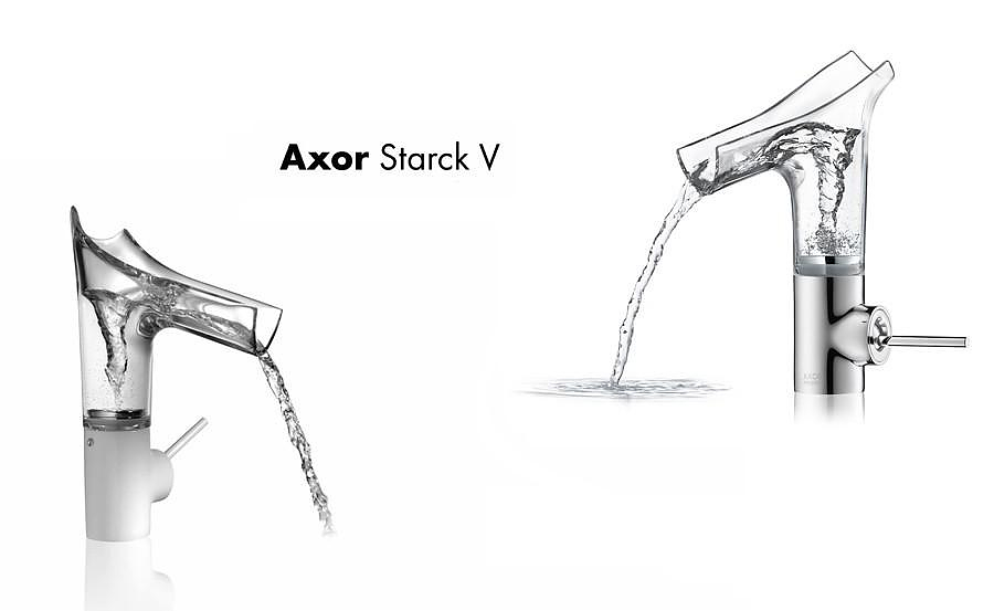 Axor Starck V Transparent Glass Faucets by Philippe Starck for Hansgrohe.