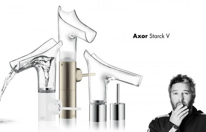 Axor Starck V Transparent Glass Faucets Hansgrohe