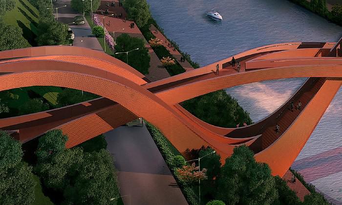 Dragon King Harbor River Pedestrian Bridge by NEXT Architects.
