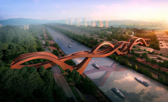 Dragon King Harbor River Pedestrian Bridge by NEXT Architects