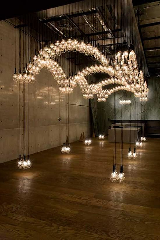 Suspended Figure Light Installation by Ayako Maruta.