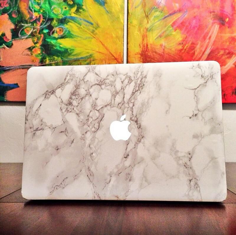 White Carrara Marble Laptop Decal for MacBook.