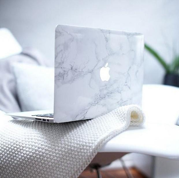 White Marble Laptop Decal for MacBook