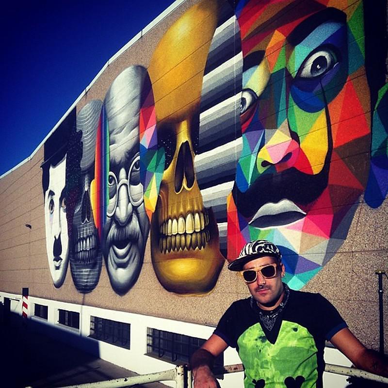 Colorful Wall Graffiti by Okuda San Miguel