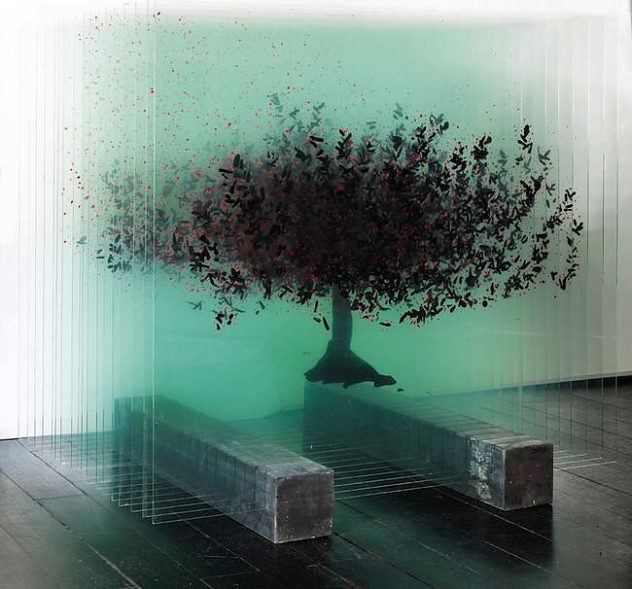 Ardan ozmenoglu 3d glass drawings tree (6)