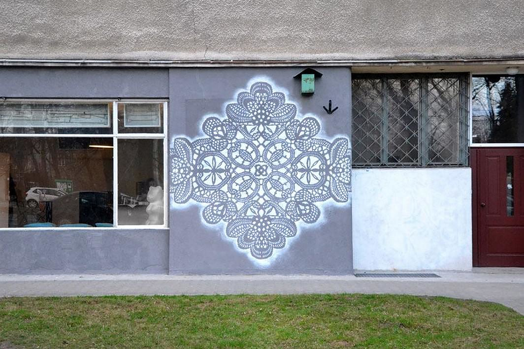 Lace Street Art by NeSpoon.