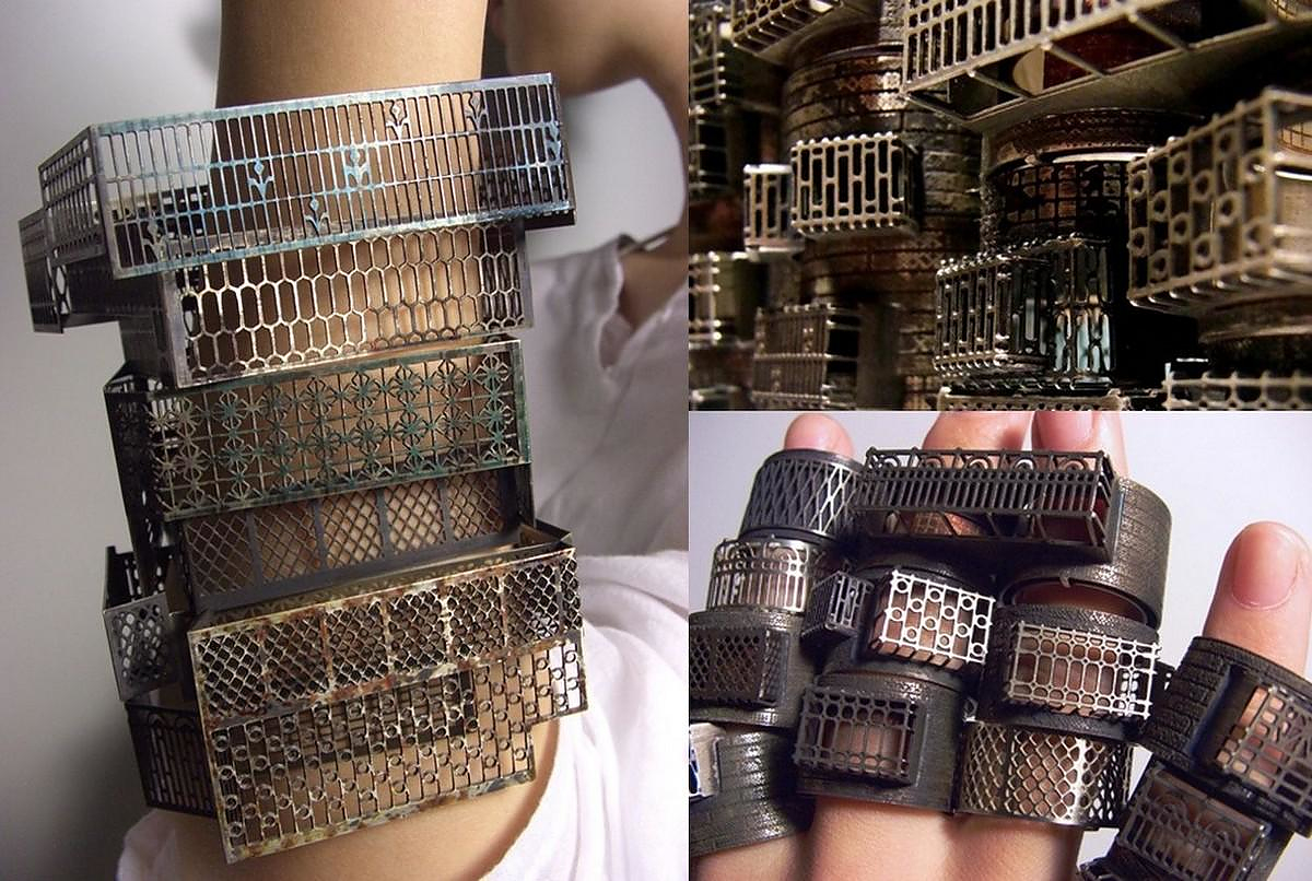 Balcony Railing Inspired Architectural Jewelry by Jung-Huei Chao.