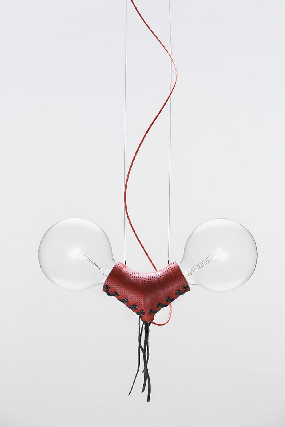 Nuts for Leather Pendant Lamp by Volker Haug.