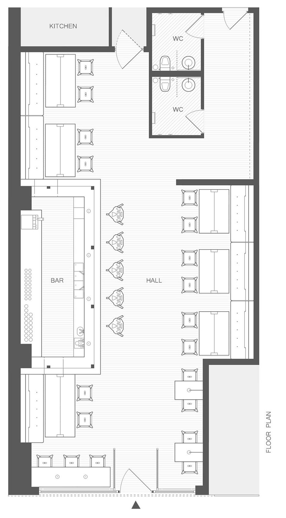 Hikki japanese restaurant by alexander yukhimets for Restaurant floor plan