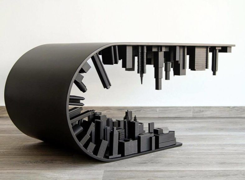 Σουρεαλιστικό τραπεζάκι σαλονιού Wave City Black Edition.