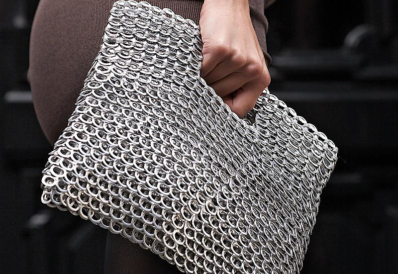 Handbag made from Recycled Pull-Tabs