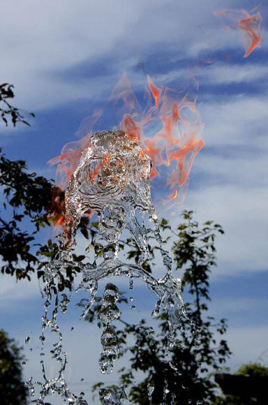 Art with Water and Fire by Jeppe Hein.
