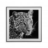 Διακοσμητικό Κάδρο Leopard 50 x 50 εκ. (Λευκό /  Μαύρο) - Versa