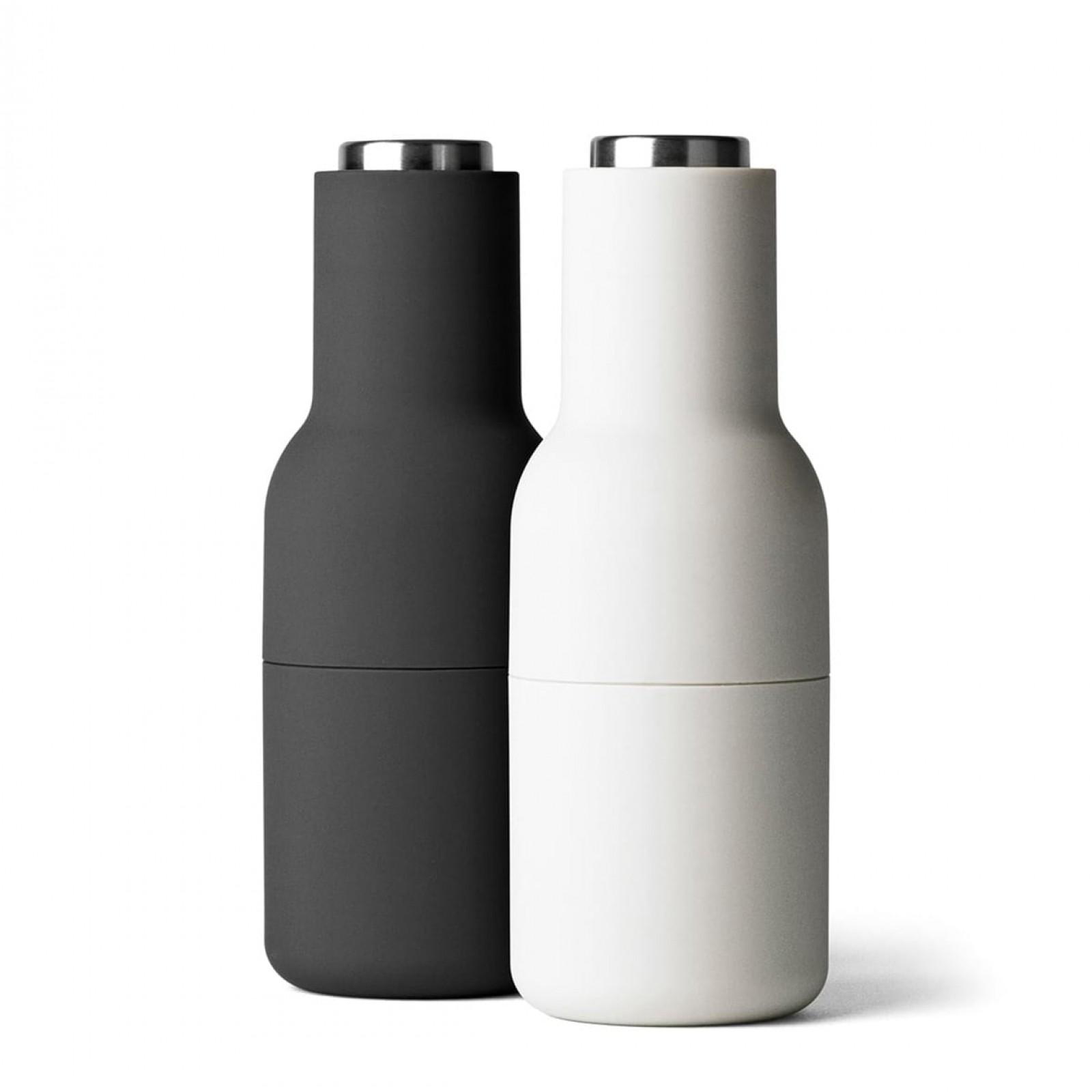 Σετ Κεραμικών Μύλων Αλατιού & Πιπεριού Bottle Grinder (Λευκό / Μαύρο / Ατσάλι) - Menu