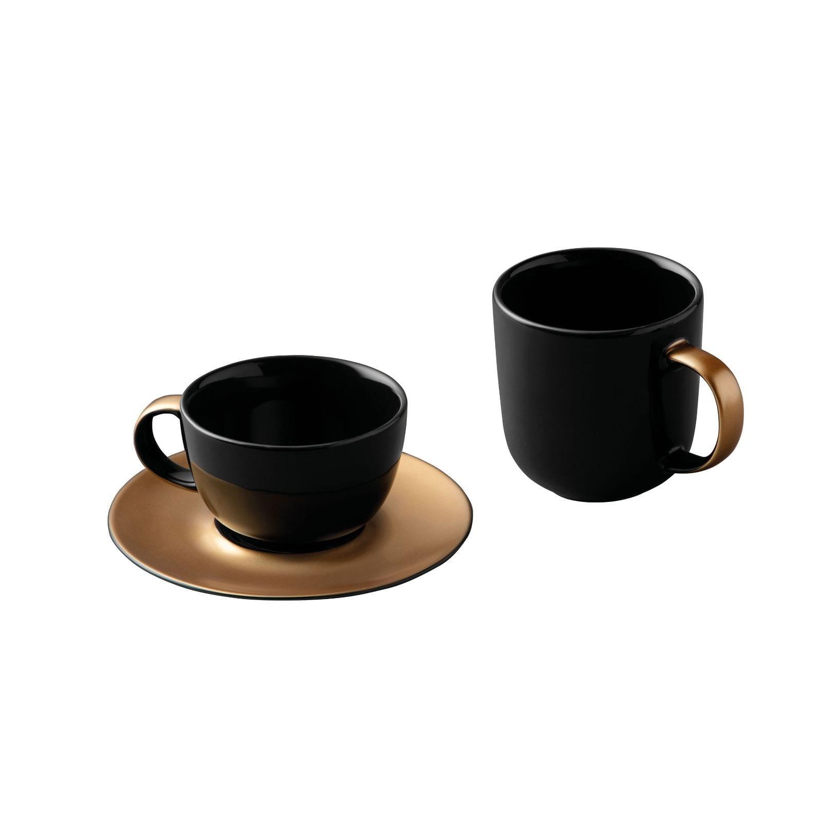 Σετ Κούπα Καφέ & Φλυτζάνι Τσαγιού με Πιατάκι (Μαύρο / Χρυσό) - BergHOFF