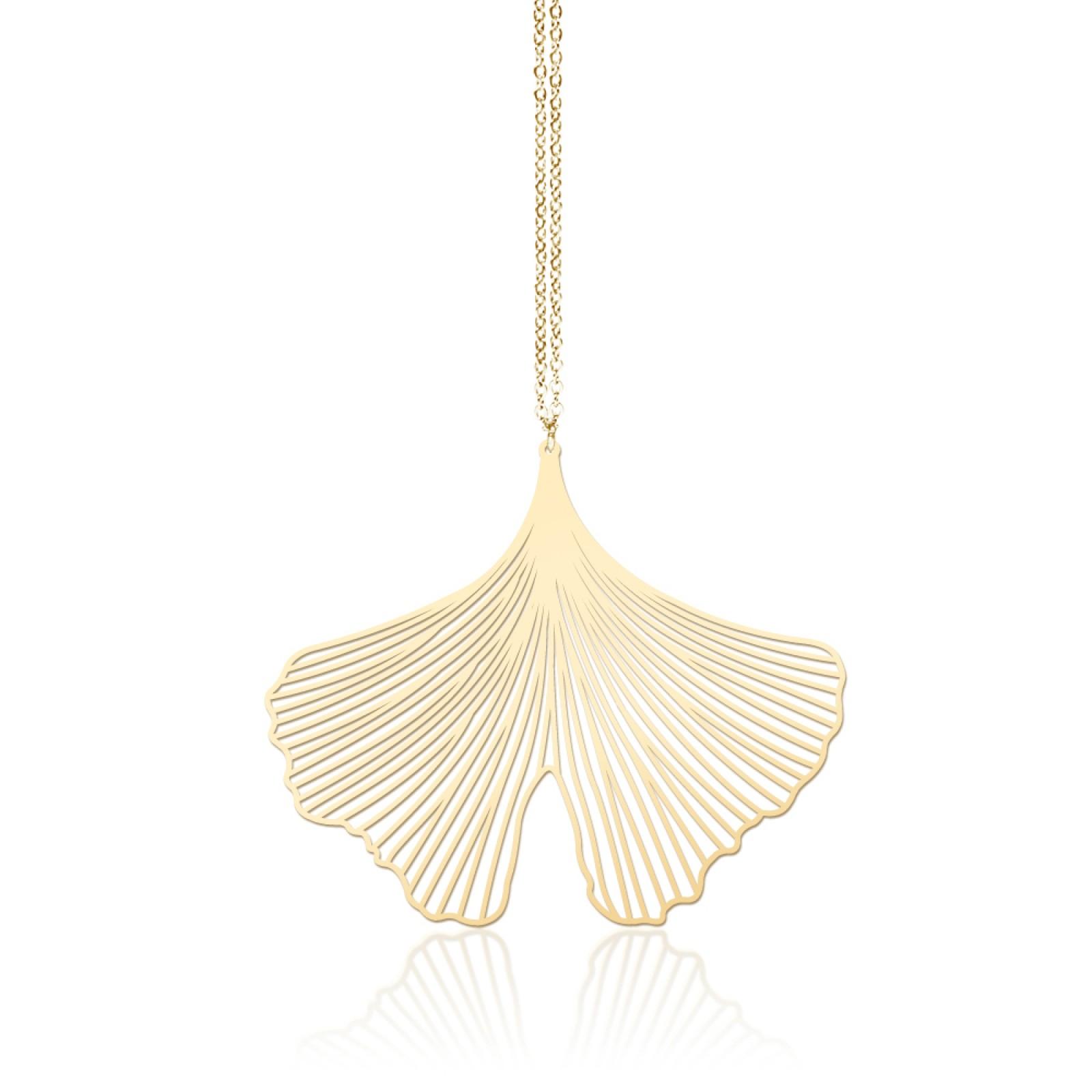 Κολιέ Μενταγιόν Ginkgo M (Χρυσό) - moorigin