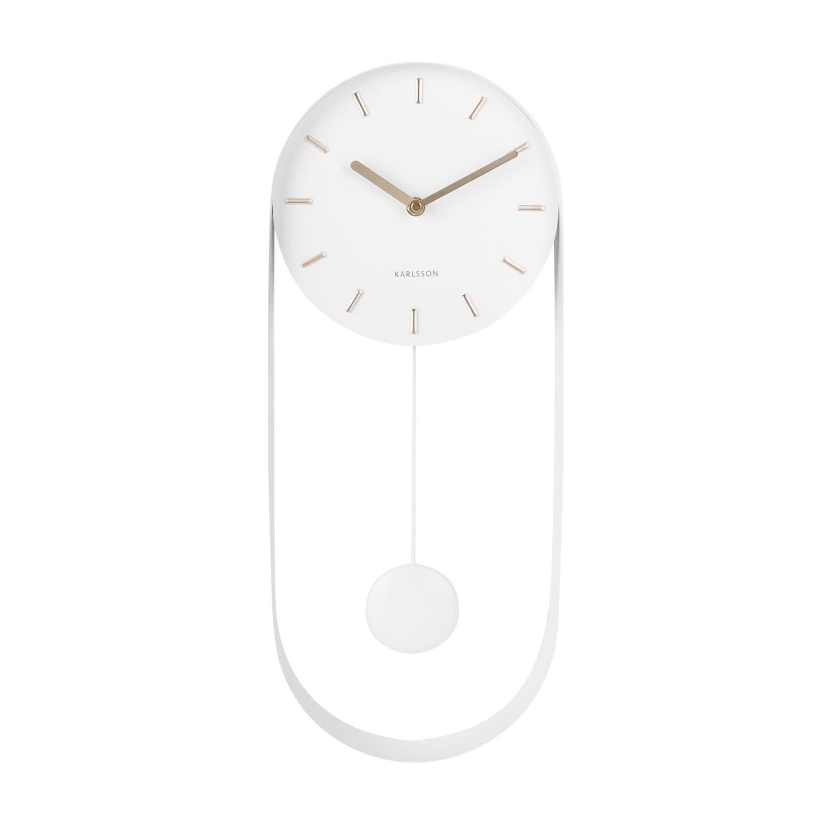 Ρολόι Τοίχου με Εκκρεμές Charm (Λευκό) - Karlsson