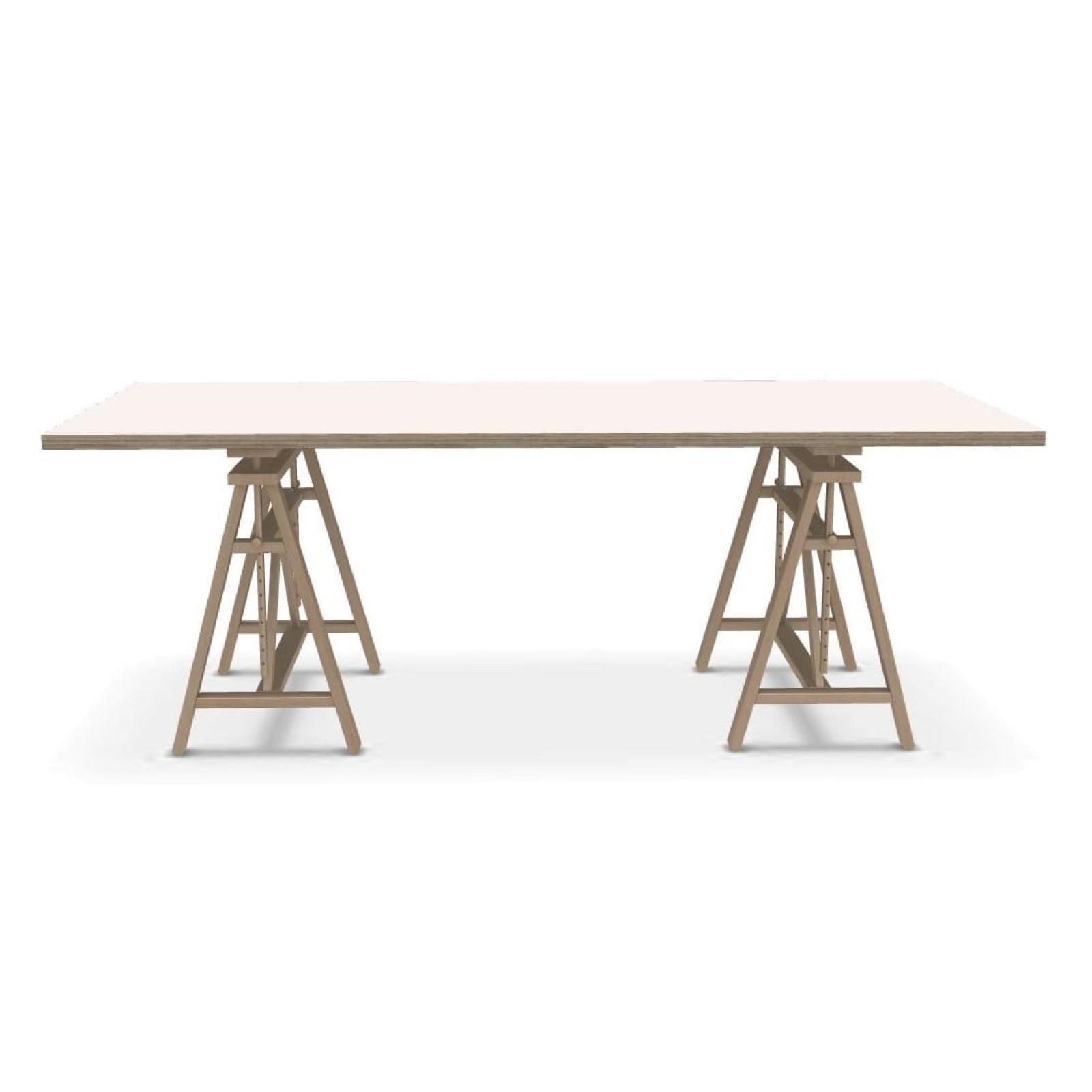 Γραφείο / Τραπέζι Teatro με Μεταβλητό Ύψος (Ξύλο Οξιάς / Λευκό MDF) - Magis