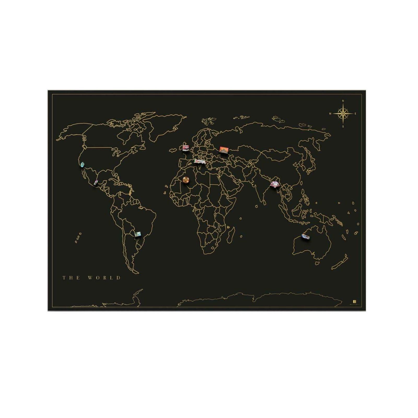 Μαγνητικός Πίνακας Travel Map (Μαύρο)