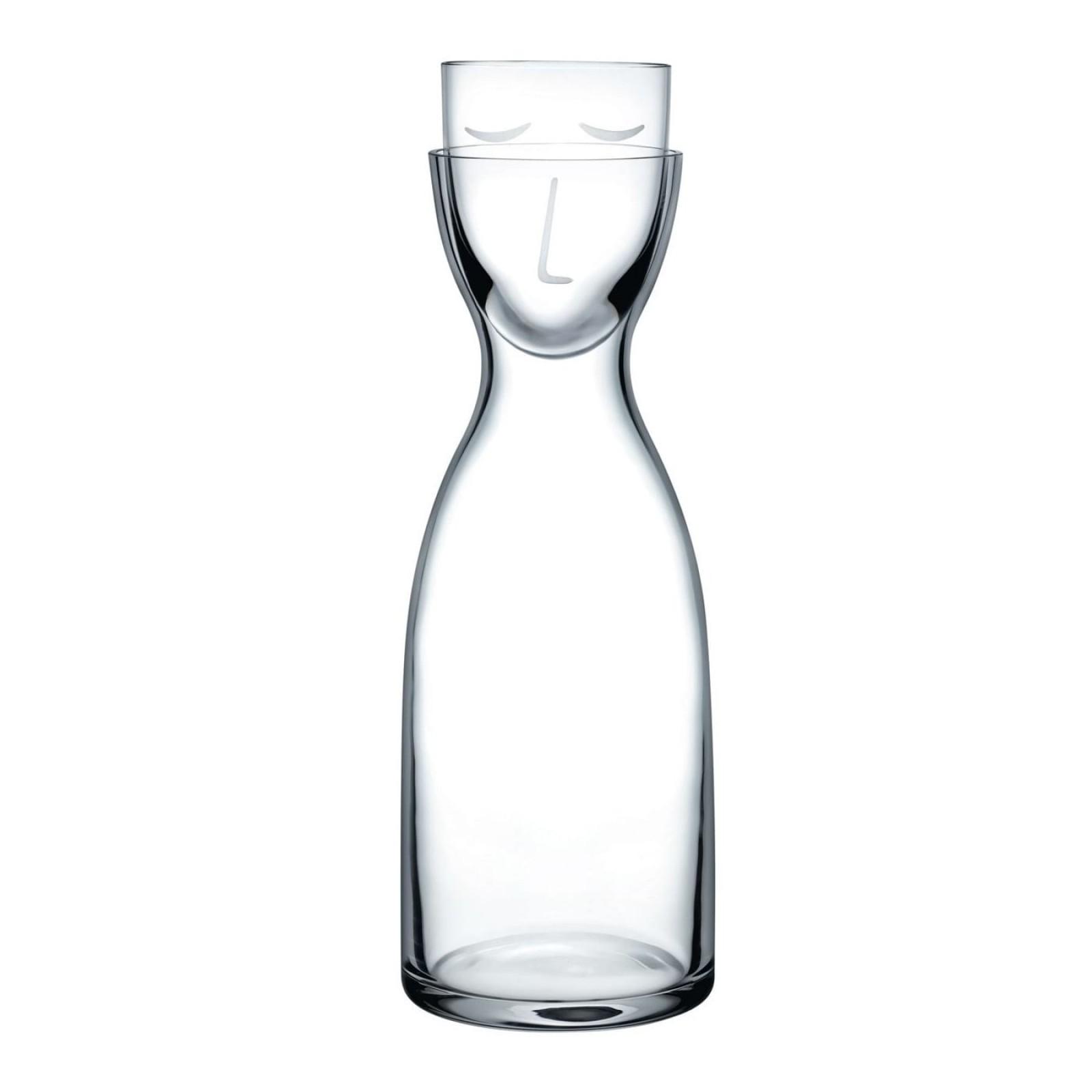Κρυστάλλινη Καράφα με Ποτήρι Mr. & Mrs. Night Tall (Διάφανο) - Nude Glass