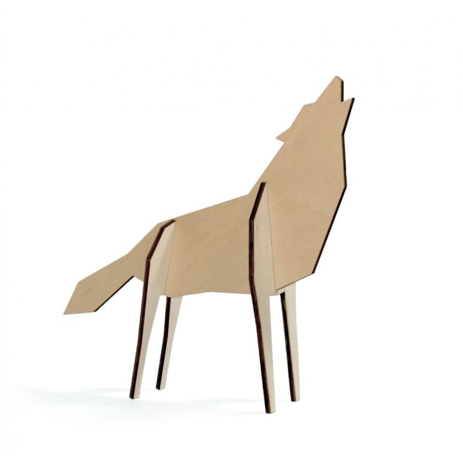 Ξύλινο Διακοσμητικό Επιδαπέδιο Nordic Large Wolf - Qualy
