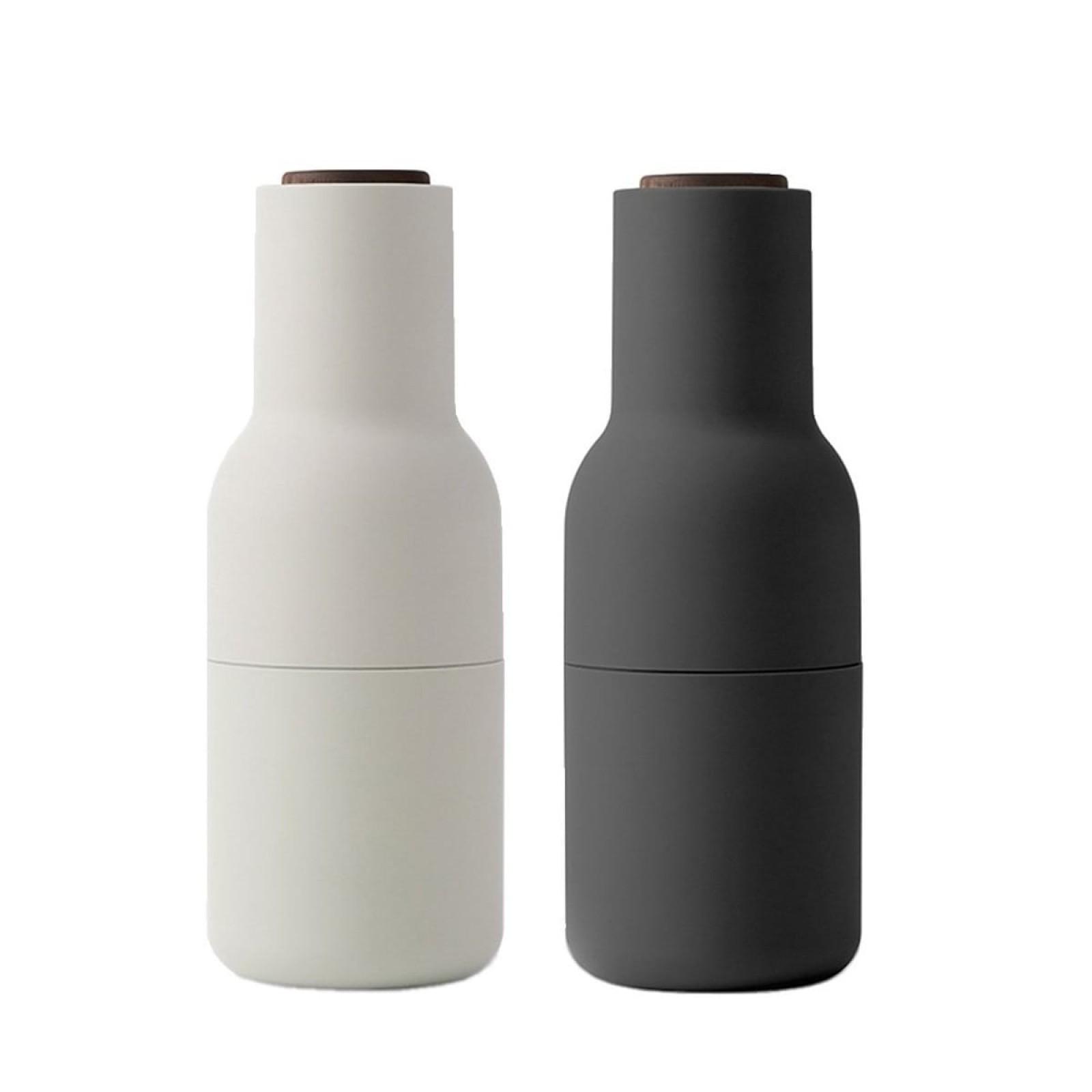 Σετ Μύλων Αλατιού & Πιπεριού Bottle Grinder (Λευκό / Μαύρο / Ξύλο Καρυδιάς) - Menu