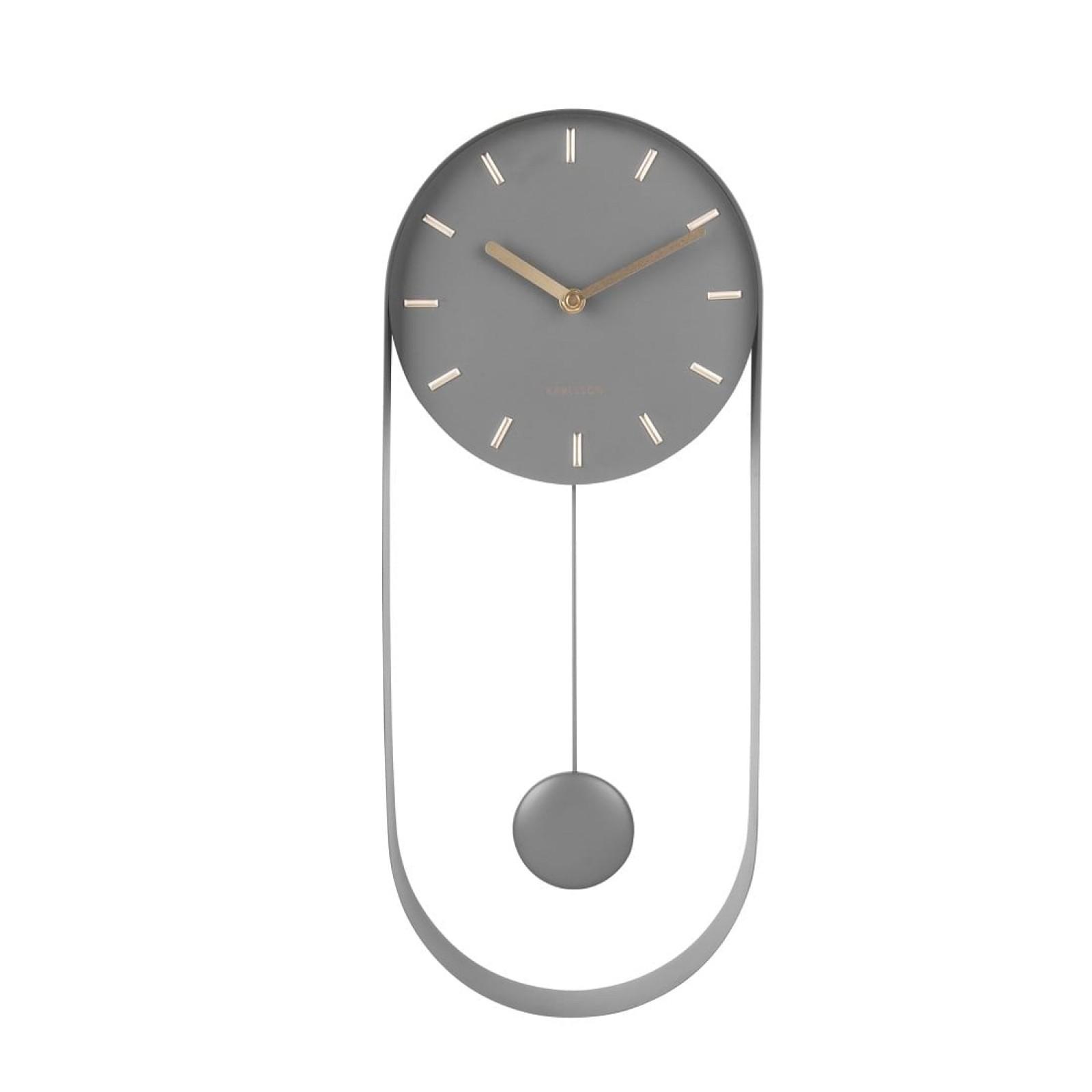 Ρολόι Τοίχου με Εκκρεμές Charm (Γκρι) - Karlsson