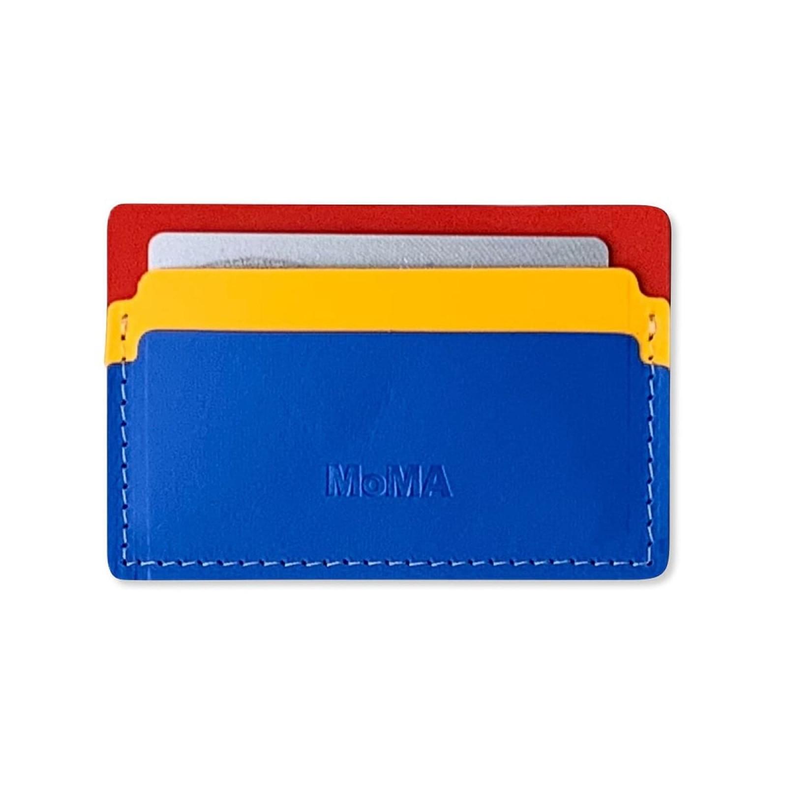 Θήκη Καρτών Primary Recycled Leather (Μπλε / Κόκκινο) - MoMa