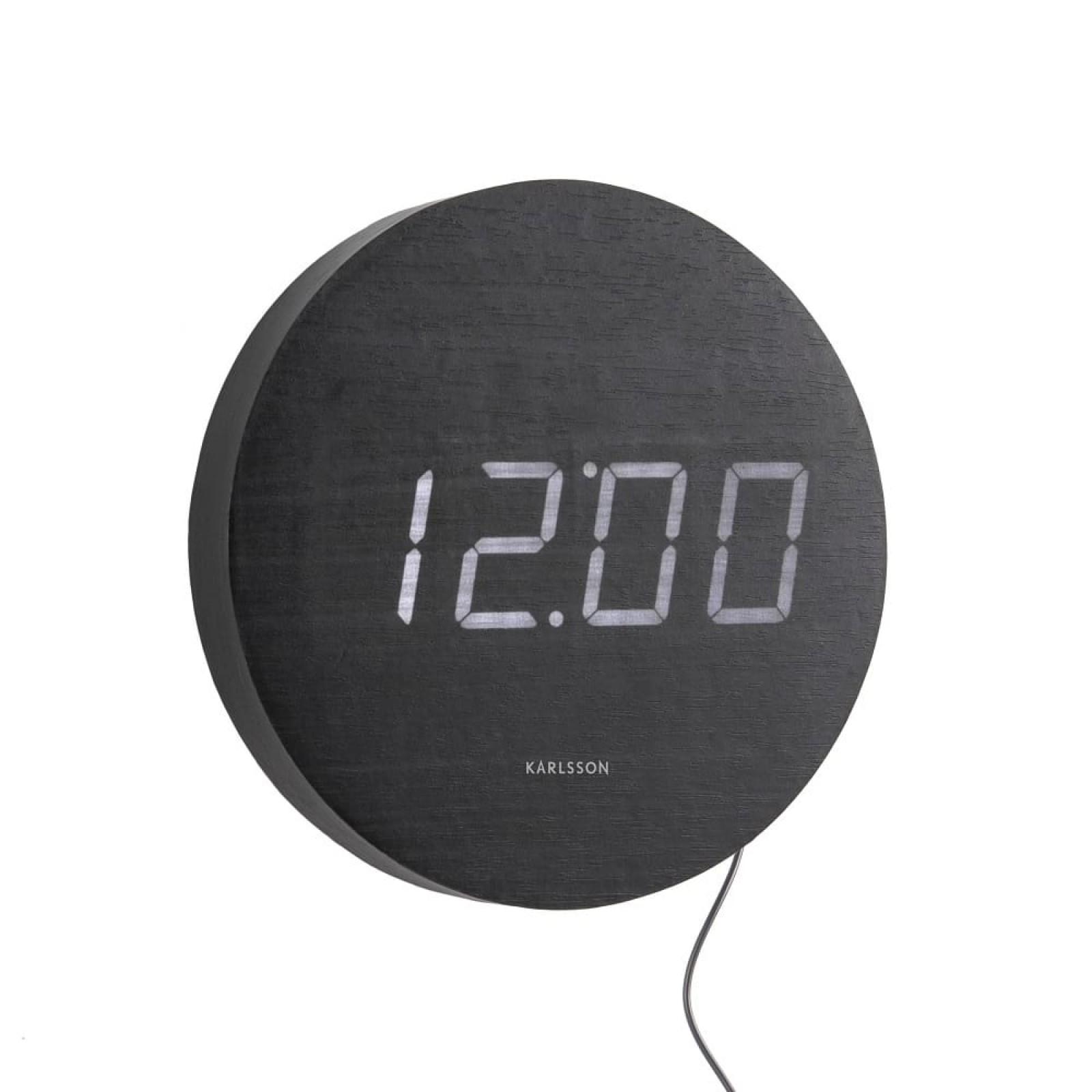 Ρολόι Τοίχου / Ξυπνητήρι Round Wood (Μαύρο) - Karlsson