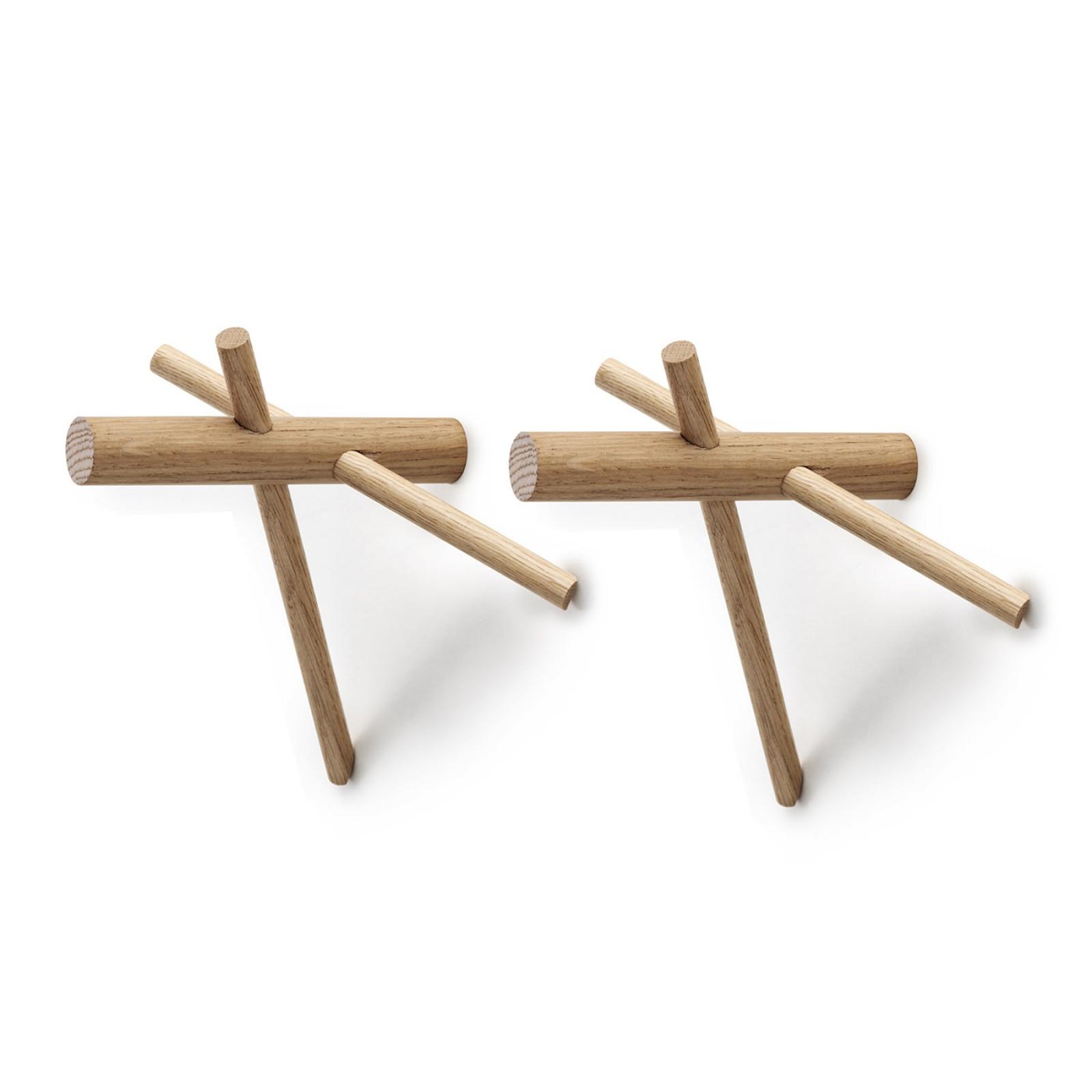 Κρεμάστρες Τοίχου Sticks Φυσικό Ξύλο (Σετ των 2) - Normann Copenhagen